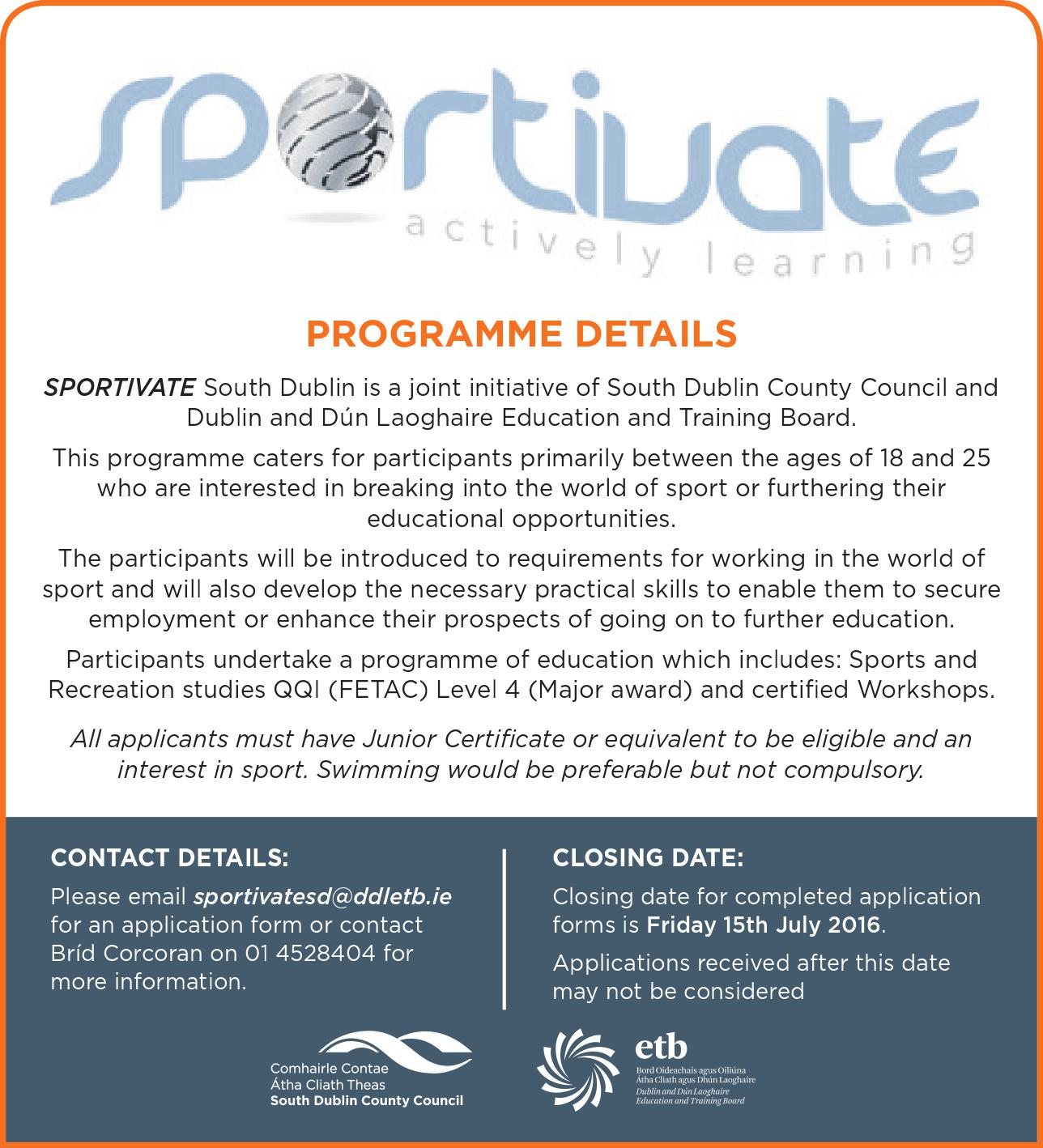 Sportivate Advert 2016